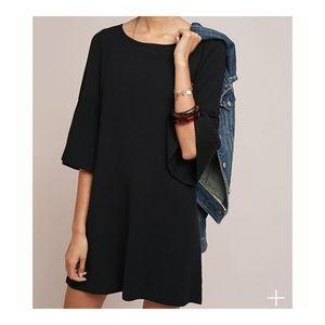 Moth Black Chester Bell Sleeve Sweater Tunic Dress